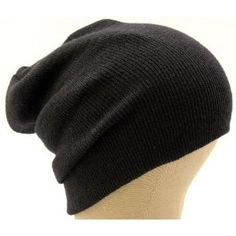 af2d72c1b51 Ribbed Beanie Hat Slouch Style Skull Cap Ski Hat Black Slouchy Beanie