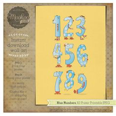 Numbers A3 Poster in Blue - Printable DIY INSTANT DOWNLOAD
