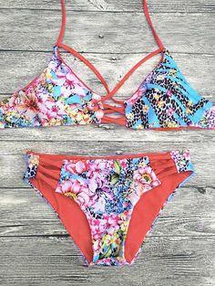 Floral Printed Strappy Bikini Set #jewelry, #women, #men, #hats, #watches, #belts