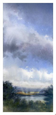 Flathead Lake - Montana by Thomas W. Schaller Watercolor ~ 28 inches x 16 inches