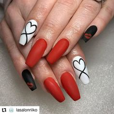 Best Acrylic Nails, Acrylic Nail Designs, Valentine's Day Nail Designs, Nail Designs With Hearts, Best Nail Art Designs, Nails Design, Red Nails, Red Summer Nails, Red And White Nails