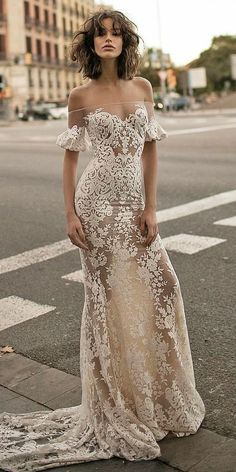 Off the shoulder wedding dresses,Mermaid with Train Lace Appliques Prom Dresses