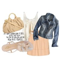 A fashion look from May 2012 featuring white shirt, denim jacket and flat shoes. Browse and shop related looks.