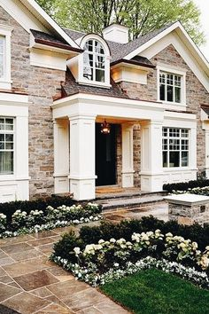 Beautiful Exterior Home Design Trends: Beautiful Front Yard/entrance To This Stylish Southern Style At Home, Future House, My House, House Front, Stone Front House, House Porch, House Goals, Home Fashion, My Dream Home