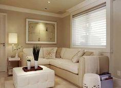 Decoração de Sala Pequena e Simples: Fotos, Ideias, Imagens Cozy Place, Home Theater, My House, Sofas, Couch, Living Room, Furniture, Design, Home Decor