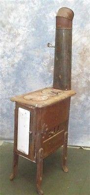 2 Burner Cast Iron Cook Stove Range Wood Coal Parlor Morning Porcelain Door
