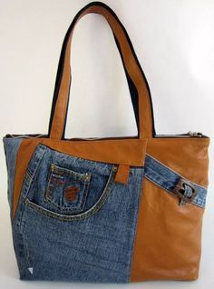 Your old jeans have a story.You gave them life and in return, they gave you years of comfort and experience.Don't let their story just end ther Denim Bags From Jeans, Denim Purse, Jean Purses, Purses And Bags, Denim Handbags, Denim Ideas, Recycled Denim, Bag Patterns To Sew, Handmade Bags