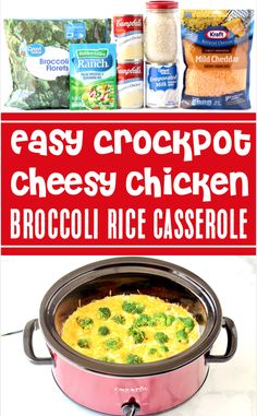 Crockpot Chicken Recipes: Broccoli Rice and Cheese Casserole! This EASY, extra cheesy slow cooker casserole is one of the EASIEST dinners you'll make all week... and such a delicious way to sneak more veggies into your day! Go grab the recipe and give it a try!