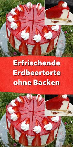 Refreshing strawberry cake without baking- Erfrischende Erdbeertorte ohne Backen In the original recipe it was a kiwi cake but I used strawberries and the cake was fantastic. Easy Homemade Cake, Homemade Cake Recipes, Healthy Dessert Recipes, Easy Desserts, Kiwi Cake, Summer Cakes, Chocolate Recipes, Strawberry, Baking