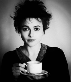 Helena Bonham Carter with tea, what's more intriguing that deep gaze or that cup of tea?