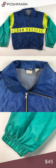 8ce1fea3bb Vintage Medium Ocean Pacific Spell Out Windbreaker Mark on the bottom and  the cuffs Ocean Pacific
