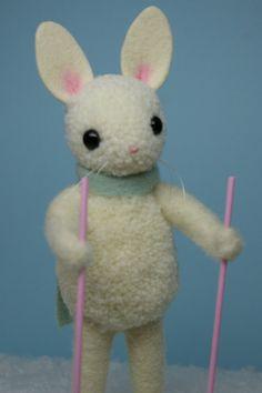Vintage+Inspired+Woolen+PomPom+Snow+Bunny+by+MykoBocekStudios,+$60.00