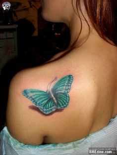 3D Butterfly Tattoo On Back Shoulder