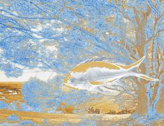 An dreamlike vision of a tree and a fish in a symbolic relationship between the ocean and the land. Ben Stein, Between The Oceans, Fine Art Prints, Framed Prints, Number 9, Art World, Wood Print, Beach Towel, Wonders Of The World