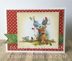 'Rudolph the Christmas lights and the Chicks' is a new rubber stamp from Stampingbella.com. Card is colored with Prismacolor pencils