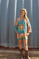 """""""Blue And Orange Scroll Tunic""""  Very Fun and Flirty  Only $34.99"""