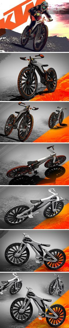 Even in KTM's extensive line of all-things-bike, this hill climbing concept would undoubtedly be the most rugged of them all. Designed for extreme downhill racing competitions, it features an innovative frame and seat system that takes form inspiration from vintage sport motos and incorporates modern tech for enhanced riding ergonomics.