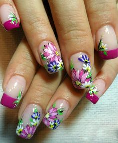 ♥ Classy Nails, Trendy Nails, Cute Nails, Natural Acrylic Nails, Long Acrylic Nails, Nail Art Designs Videos, Toe Nail Designs, Food Nail Art, May Nails