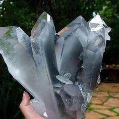 Blue Phantom Quartz crystal cluster from Brazil.