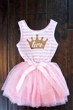 First or Second Birthday Tutu Dress for Baby Girl In Pink and White Stripes With Glitter Gold Crown, Number One, Number Two
