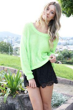 Sabo Skirt and Neon Lime Knit