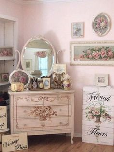 Fleurs. A Shabby Chic girl's bedroom with Vintage Furniture and Roses #shabbychicbedroomsvintage #shabbychicdressersvintage