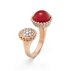 Perlée couleurs Between the Finger ring, pink gold, carnelian, diamonds