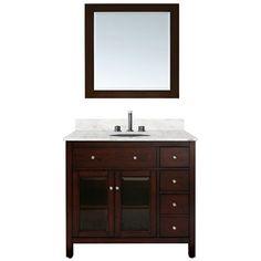 "Avanity Lexington 36"" Single Bathroom Vanity - Light Espresso | Free Shipping $1210 w carerra marble"