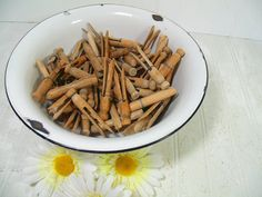 Vintage Wooden Round Clothes Pins Collection of 66 by DivineOrders