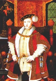 Edward VI as king, in a pose reminiscent of his father, 1543