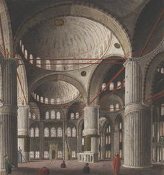 The interior of Sultan Ahmet Camii Mosque, 1809. Watercolour drawing by an anonymous greek artist. Istanbul, Turkey.