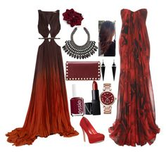 """""""Shades of Red outfit No.18"""" by amazin-maze on Polyvore featuring Roberto Cavalli, Alexander McQueen, Valentino, Essie, NARS Cosmetics, Oasis, H&M, Michael Kors, red and classy"""