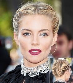 Braids always win. Sienna Miller's double braid and lush, dark berry lips made for a perfect beauty look at Cannes