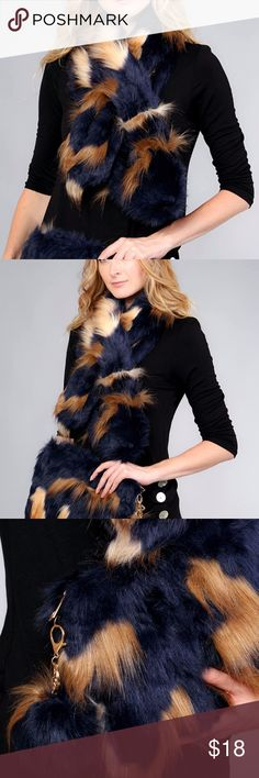 "GOLD TIP DYED FAUX FUR SCARF NWT Approx   45"" length x  8"" width Faux fur One size Clutch is available in a separate listing Accessories Scarves & Wraps"
