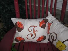 Handpainted fall pillows.