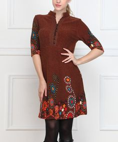 Another great find on #zulily! Brown Floral Button-Front Dress - Women #zulilyfinds