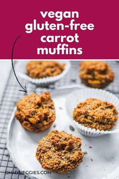 These simple and healthy carrot muffins are a healthier sweet treat that are great for both dessert and breakfast! Make these in under 30 minutes with minimal effort, and keep in the fridge for a grab-and-go snack. Gluten Free Carrot Muffins, Carrot Cake Muffins, Vegan Carrot Cakes, Healthy Muffins, Healthy Sweet Treats, Healthy Sweets, Healthy Dessert Recipes, Vegan Desserts, Vegan Baking Recipes