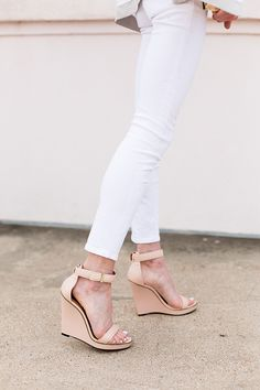 nude wedges | I would like the bridesmaids to keep there shoes somewhat similar to this style and color.