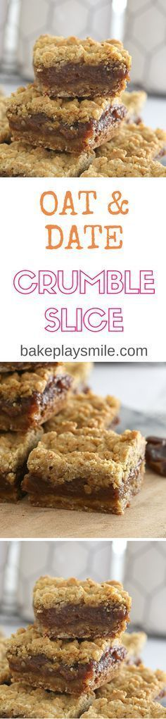 Vegan Oat & Date Crumble Slice (easy biscuits recipe vegan) Weight Watcher Desserts, Köstliche Desserts, Delicious Desserts, Yummy Food, Low Carb Dessert, Dessert Bars, Cake Bars, Baking Recipes, Cake Recipes