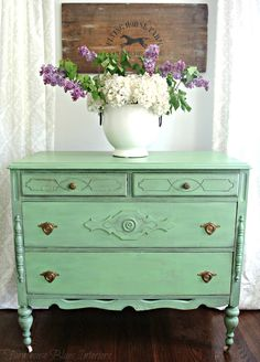Sweet bureau painted in Country Chic Paint's Rustic Charm. www.farmhouseblues.com