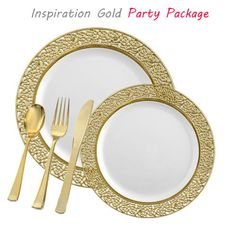 Posh Party Supplies - Inspiration VALUE White and Gold Party Package, $217.99 (http://www.poshpartysupplies.com/posh-products/party-package/inspiration-value-white-and-gold-party-package/)