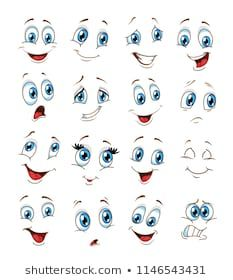 Face Expressions Cartoon Vector Ilustration Stock Vector (Royalty Free) 1146543431 - Painted rocks - Similar Images, Stock Photos & Vectors of Cartoon faces with different expressions, featuring the e - Eye Painting, Stone Painting, Cartoon Faces Expressions, Cartoon Expression, Flower Pot People, Clay Pot People, Face Template, Snowman Faces, Rock Painting Designs