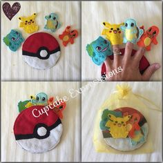 Handmade Pokemon Monsters Pika 5pcs Comes w Carrying Case Finger Puppets Set | eBay
