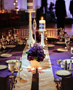 La Petite Fleur Weddings, Philadelphia Event Design, Philadelphia Wedding Florist, North Hills Country Club Wedding, Lori Gail Photography, Purple wedding centerpiece, Orchids, Stock, Candles with ribbons, Flower Hedge Tablescape