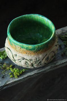 Большая зеленая чаша / Зеленая керамическая миска – купить в интернет-магазине на Ярмарке Мастеров с доставкой