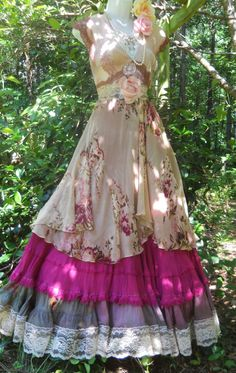 Floral maxi dress hand made by vintage opulence on Etsy  The top is a hand dyed tea stained satin with appliques and a vintage lace sash The