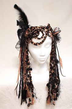 headdress tribal headdress feather headdress goddess gypsy burningman festival wear burlesque belly dancer faery fantasy dready wig tribal www.etsy.com/shop/lotuscircle