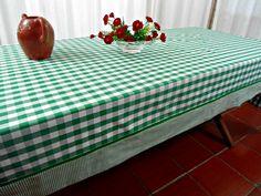 Toalha de Mesa Artesanal Xadrez Verde