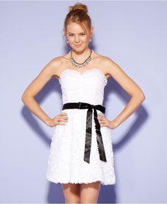 Roberta Juniors Dress, Strapless Belted Sweetheart - Juniors Dresses - Macys