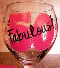50th birthday glass